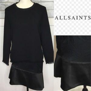 All Saints black layered distressed fun Dress
